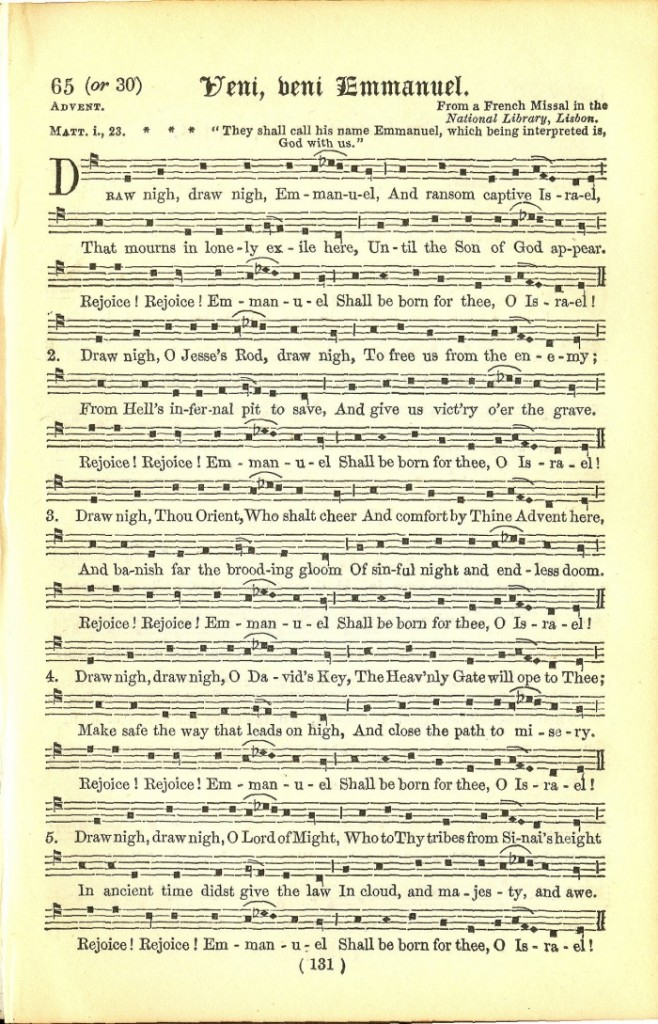 plate of Veni, Veni Emmanuel from Neale's Hymnal Noted