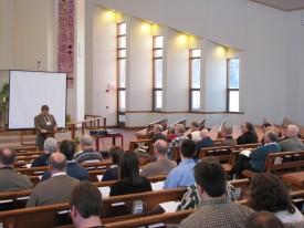 Pastor Preus during his presentation
