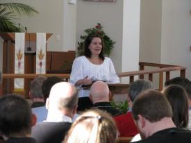 Mollie Ziegler Hemingway during her presentation