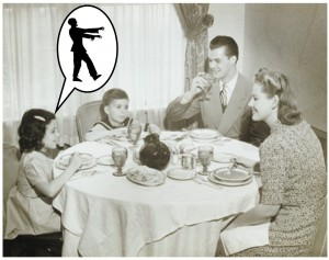 family-dinner and zombies