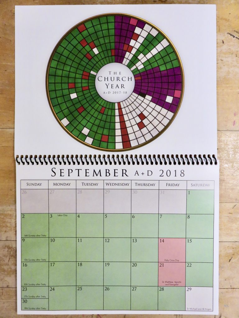 in the picture the calendar is open to september 2018 the week of september 2 8 is the spoke at 900 on the circular calendar which is completely green